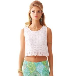 Lilly Pulitzer Tops - NWOT -- Lilly Pulitzer White Lux Cropped Lace Top