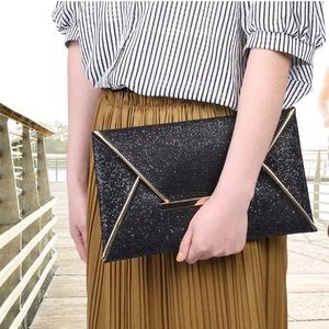Handbags - NEW Black Shimmer sequin Clutch with Gold Trim