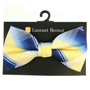 Laurant Bennett Other - Yellow and Blue Plaid Bow Tie