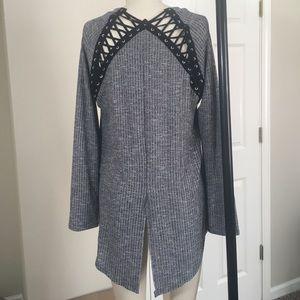 Fashion Nova Tops - Lace up back hi-low tee