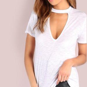 austin gal Tops - Deep V-Neck Choker TEE T-Shirt White Keyhole NEW