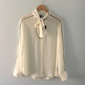 Who What Wear Tops - NWT semi sheer lightweight bow tie button up