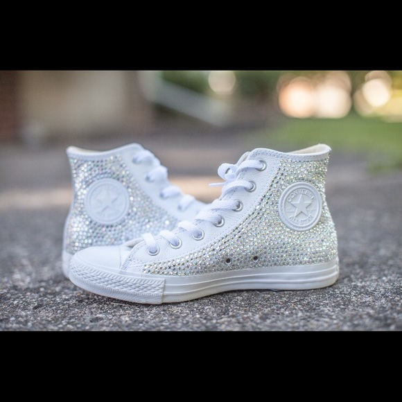575f174ed807 Converse Shoes - Bedazzled white leather converse wedding shoe 8