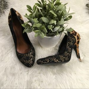 Schultz Shoes - Schutz Black Lacey Leopard Heels SZ 9 Shoes Pumps