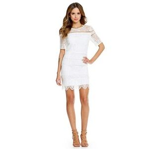 NWT Gianni Bini White Floral Sheer Crochet Dress