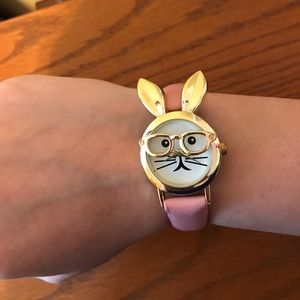 Geneva Accessories - Pink faux leather gold tone bunny rabbit watch
