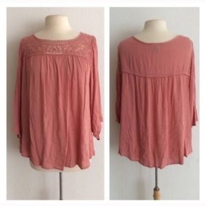Simply Emma Tops - (Plus) Lace pink top