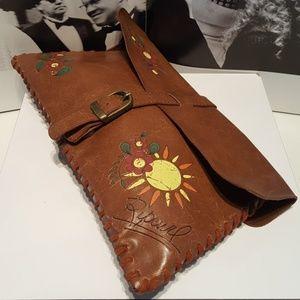 Ripcurl Boho indi chic brown leather wristlet