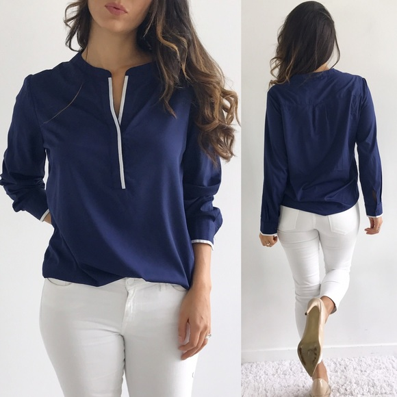Banana Republic Navy Blouse 5