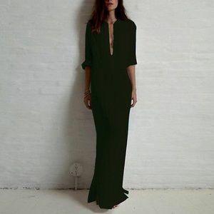 Boutique Dresses & Skirts - Button Down Black T Shirt Maxi Dress