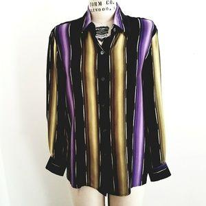 Ellen Tracy Silk striped blouse