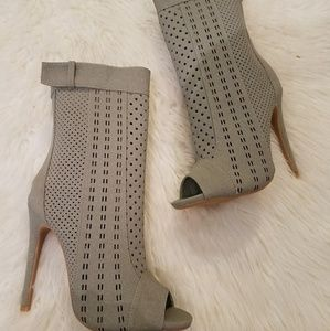 Grey Cut Out Peep Toe Booties