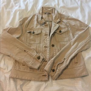 Free People Jackets & Blazers - free people khaki colored jean jacket size S