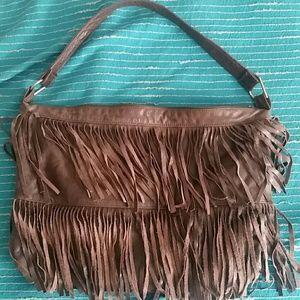 Vintage Brown Leather Fringe Purse!