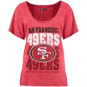 Team Apparel Tops - San Francisco 49ers Scoop Neck Mineral Wash Tee 934440f53