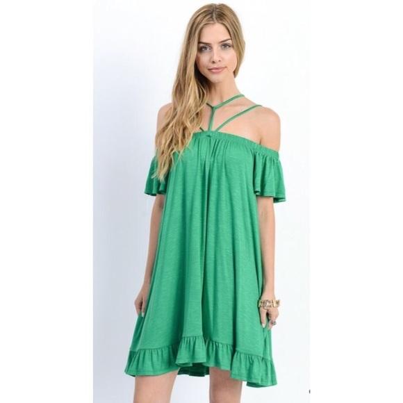 d1cbec80991f ❗️CLEARANCE❗️Green Cross Off Shoulder Dress S M L