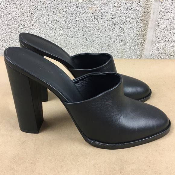 49 Off Vince Shoes New Vince Black Leather Mules Slip