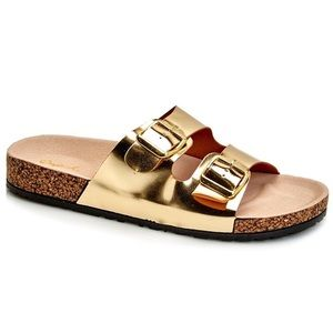 Qupid Shoes - Qupid Gold 'Birkenstock Style' Sandals