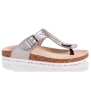 Qupid Shoes - Qupid Silver 'Birkenstock Style' Sandals