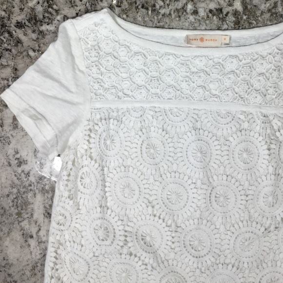 b6c894818b5 Tory Burch Margaux Floral Lace Crochet Linen Tee