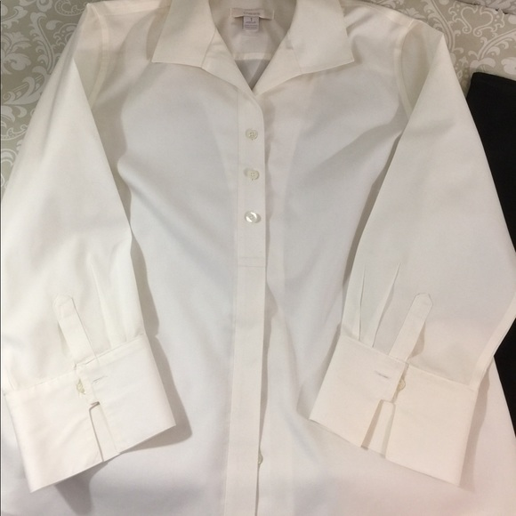 77 off chico 39 s tops white cotton no iron chico 39 s blouse for Chicos no iron shirts