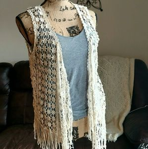It's Our Time Tops - 🌸 Crochet Fringe Vest Size M by Its Our Time 🌸