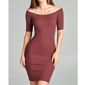 Off Shoulder Ribbed Knit Bodycon Dress
