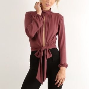 Mock Neck Cut Out Top