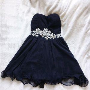 AX Paris Dresses & Skirts - Ax Paris navy rhinestone homecoming dress