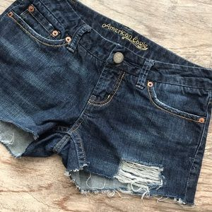 American Eagle Outfitters Pants - American Eagle Dark Wash Distressed Shorts
