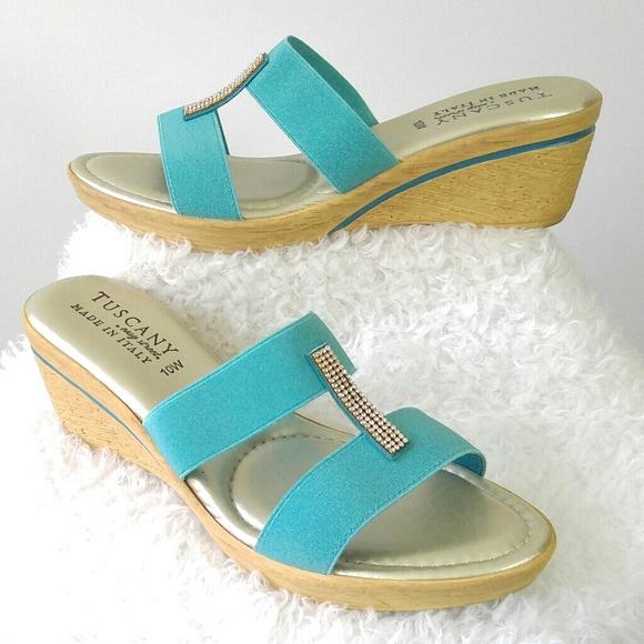 e4b412350c9 Tuscany Wedge Sandals Teal Rinestones. M 5949a8f78f0fc4ba19048d99