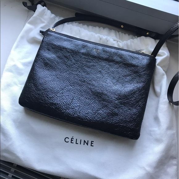 88ad3b01a065 Celine Handbags - Celine trio large black goat skin