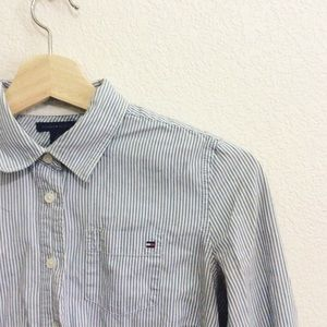 Tommy Hilfiger Tops - Tommy Hilfiger blue and white pinstripe button up