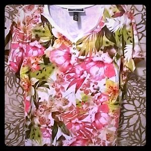 Karen Scott Tops - Karen Scott Petites Flower Shirt