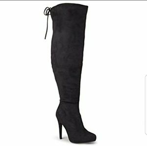Journee Collection Shoes - Women's Over-the-Knee Suede High Heel Boots - NEW