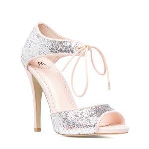 ShoeDazzle Shoes - Shoedazzle Effy silver glitter pink heels 7