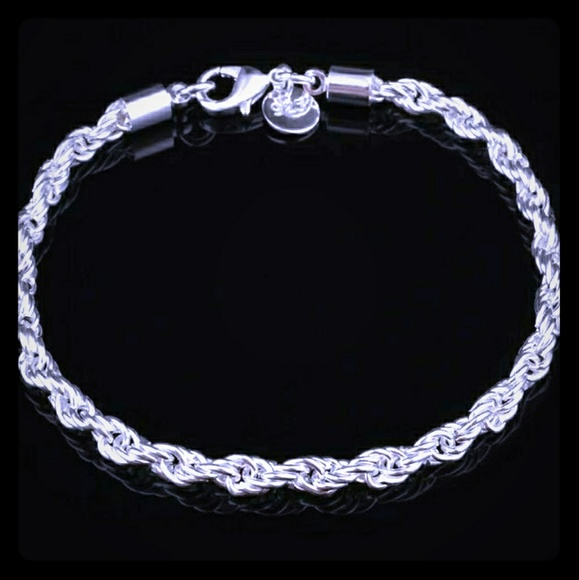 Sterling silver plated twisted rope bracelet