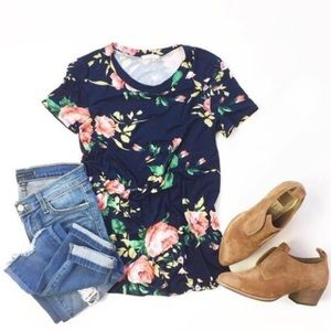 Tops - | blue floral tee |