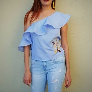 Alice Blue Tops - Off The Shoulder Ruffle Top