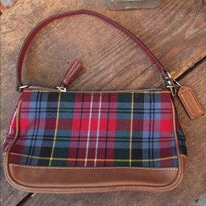 Coach Handbags - Cute Coach plaid and leather mini bag!