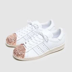 adidas superstar white rose gold toe