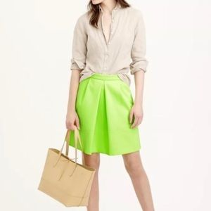 J. Crew Dresses & Skirts - J. Crew Neon Green Pleated Mini Skirt sz 6