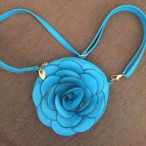 Handbags - Turquoise rose purse crossbody pinup