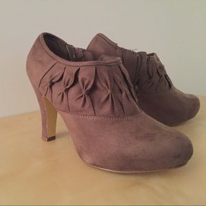 Unlisted Shoes - Taupe Suede Booties