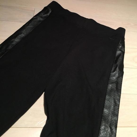 77% off PINK Victoria's Secret Pants - Leather Trim Pink Leggings ...