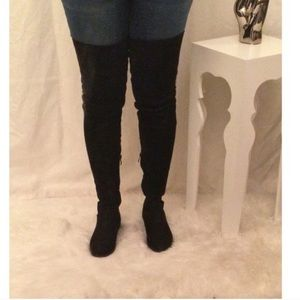Black Faux Suede Thigh High Boot