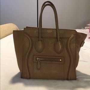 Celine Handbags - Celine Drummed Calfskin Micro Luggage Camel