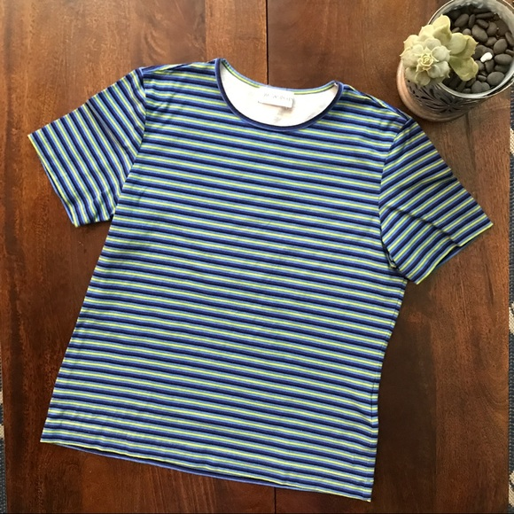 fb0619f92a Yves Saint Laurent Tops | Ysl Green And Blue Striped Tee | Poshmark