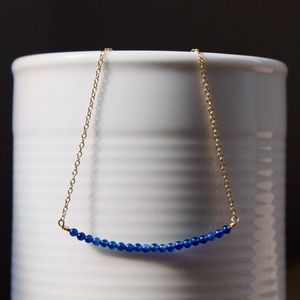 Jewelry - Blue Agate Bar Necklace, Gold Minimalist Necklace