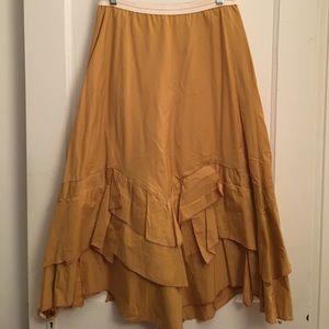 Gold Anthropologic gypsy skirt with layered hem